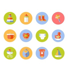 Card with colorful baby icons vector