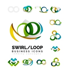 Set of infinity concepts loop logo designs vector