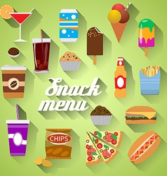 Snack menu flat design modern of food drink coffee vector