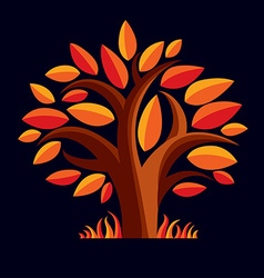 Art of tree with orange leaves autumn seaso vector