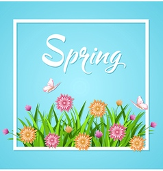 Blue spring background with green grass vector