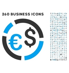 Currency diagram icon with flat set vector