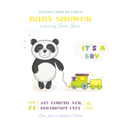 Baby shower card - baby panda with train toy vector
