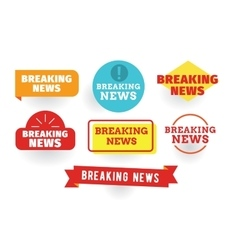 Breaking news labels set vector