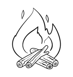 Campfire icon in outline style isolated on white vector