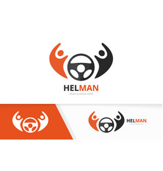 Car helm and people logo combination vector