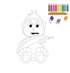 Coloring page happy monkey with banana vector