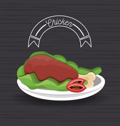 Delicious roasted chicken thigh menu restaurant vector