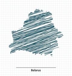 Doodle sketch of Belarus map vector image