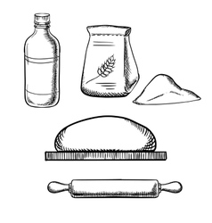Dough with rolling pin flour and milk vector