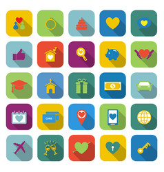 Family color icons with long shadow vector