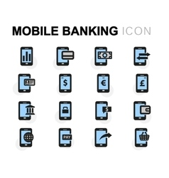 Flat mobile banking icons set vector
