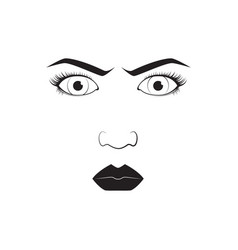 Girl emotion face angry cartoon vector