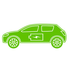 green hybrid car icon electric powered vector image vector image