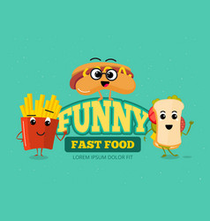 happy fast food comic characters background vector image vector image