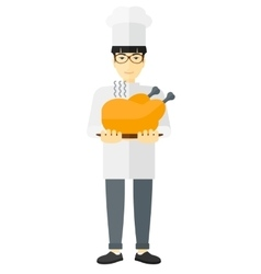 Man holding roasted chicken vector image