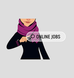 Muslim woman writes online job on virtual screen vector