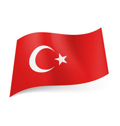 National flag of turkey white crescent moon with vector