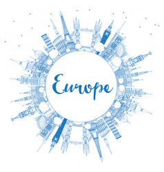 Outline famous landmarks in europe with copy space vector