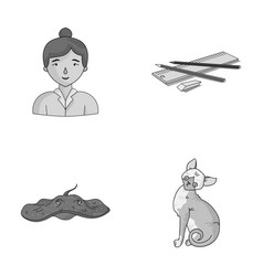 Paws teacher and other monochrome icon in cartoon vector