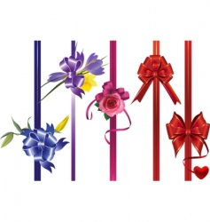 Ribbons with bows and flowers vector
