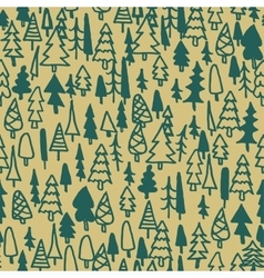 Seamless pattern hand drawn pine forest vector image