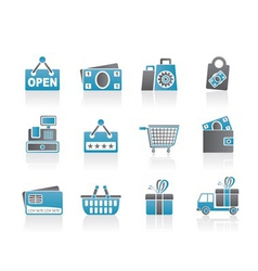 Shopping and retail icons vector