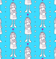 Sketch girl with teddy bear vector image