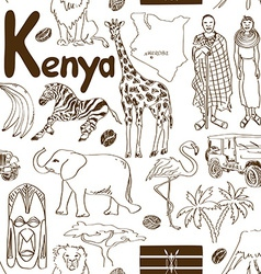 Sketch kenya seamless pattern vector