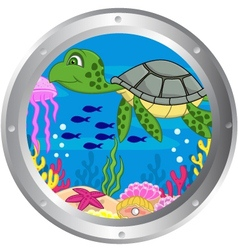 Turtle cartoon vector image vector image