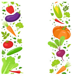 Vertical seamless borde of vegetables vector