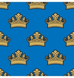 Victorian golden crowns seamless pattern vector
