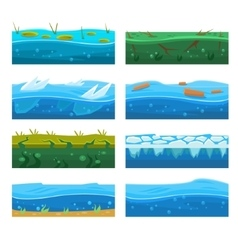 Water Platformer Level Floor Design Set vector image vector image