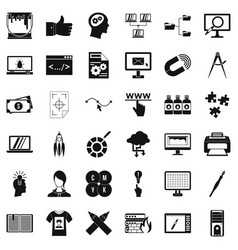 Web marketing icons set simple style vector