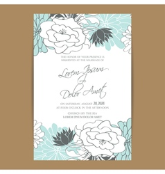 Wedding invitation card with blue white flowers vector