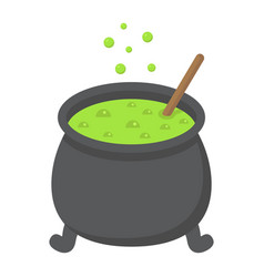 witch cauldron flat icon halloween and scary vector image