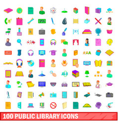 100 public library icons set cartoon style vector image vector image