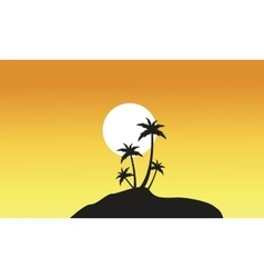 Beautiful scnery palm trees of silhouettes vector image