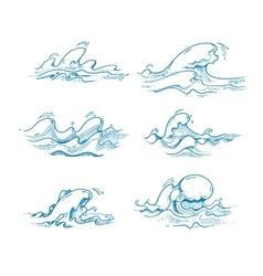 Vintage sea waves set in hand drawn sketch vector