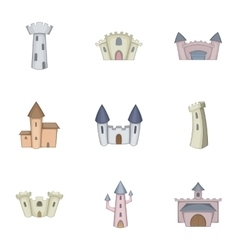 Knights royal princess castle icons set vector