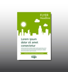 Abstract green cityscape building flyer vector