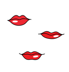 Red woman lips different shapes vector