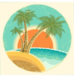 Vintage exotic tropical island vector