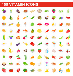 100 vitamin icons set isometric 3d style vector image