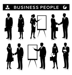 Flipcharts with business people silhouettes vector image