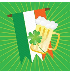 St patricks day flag and beer on green background vector