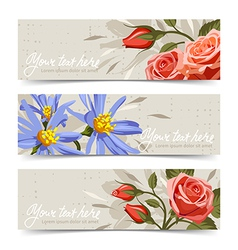 Banner with flowers 3 vector image