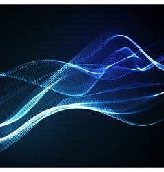 3D illuminated neon digital wave vector image