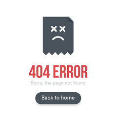 404 error with text webpage icon and button vector