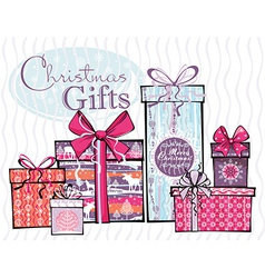 Merry christmas gifts vector